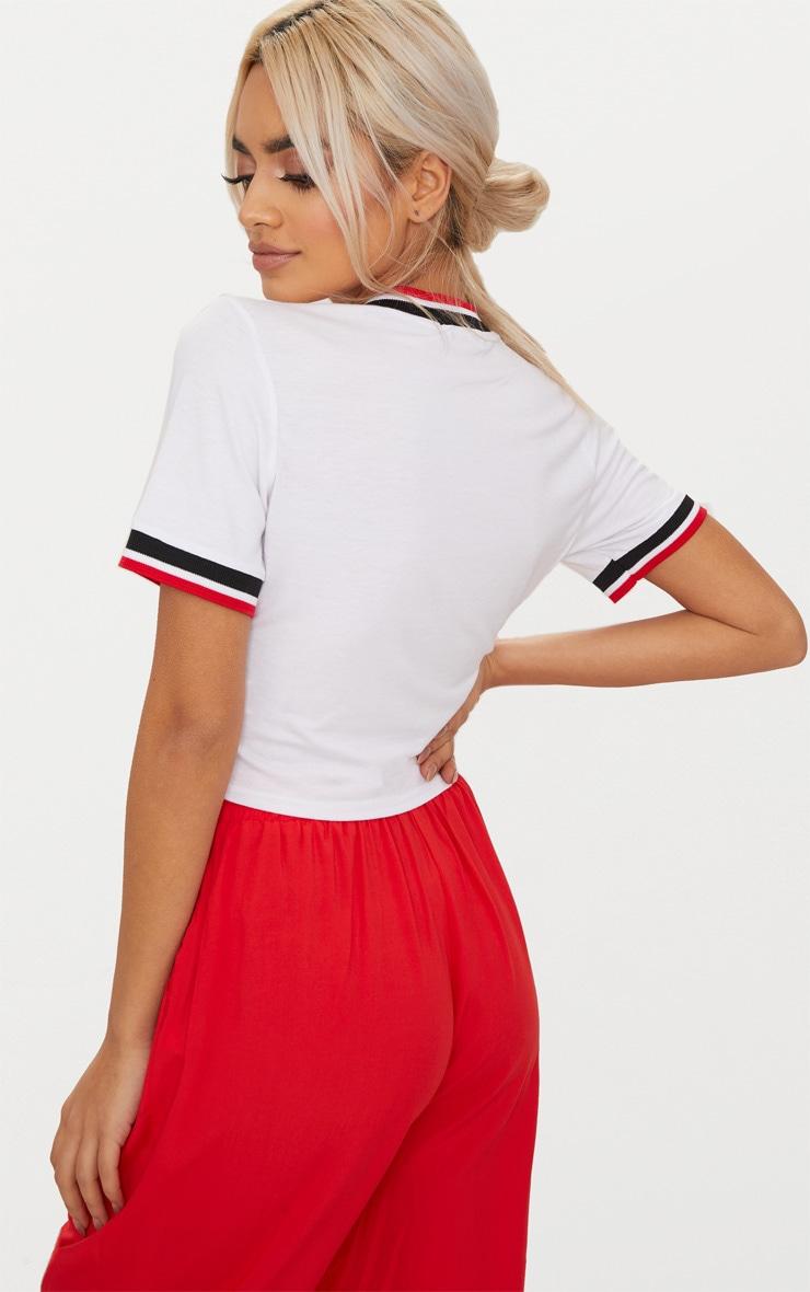 White Sport Trim Crop T Shirt  2