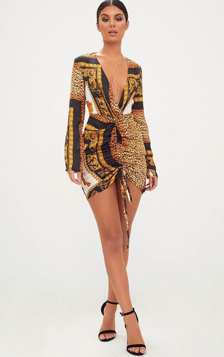 Animal Scarf Print Satin Plunge Ruched Front Bodycon Dress 4