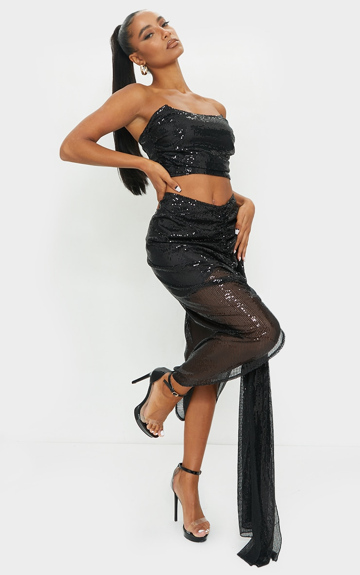 Black Sequin Woven Structured Curved Crop Top 3