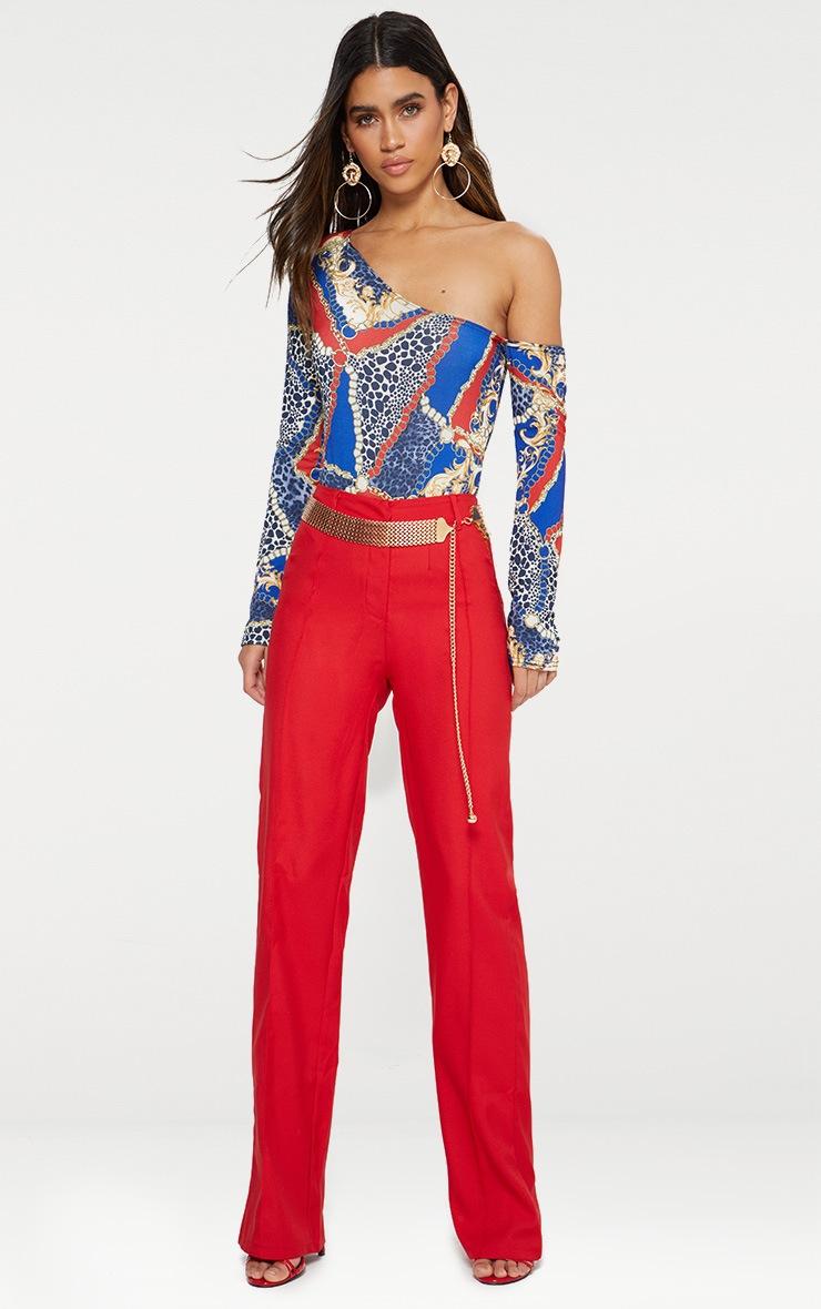 Blue Chain Print Cut Out Shoulder Thong Bodysuit 3