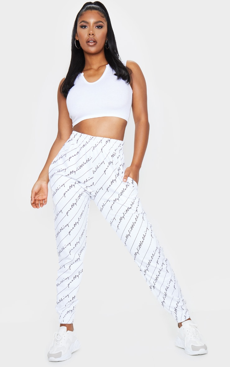 PRETTYLITTLETHING White Printed Joggers 1