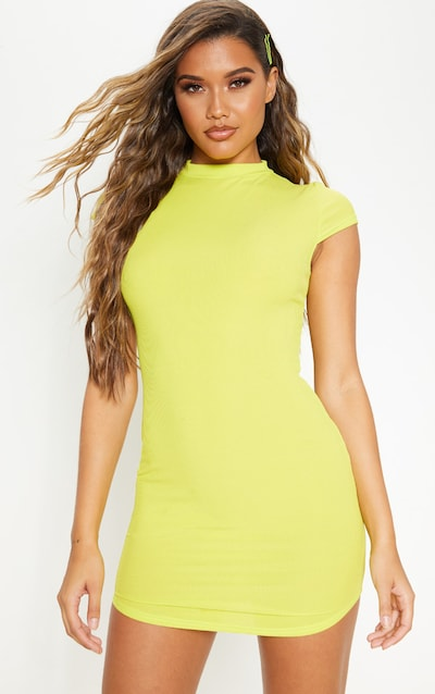 Lime Green High Neck Ribbed Bodycon Dress
