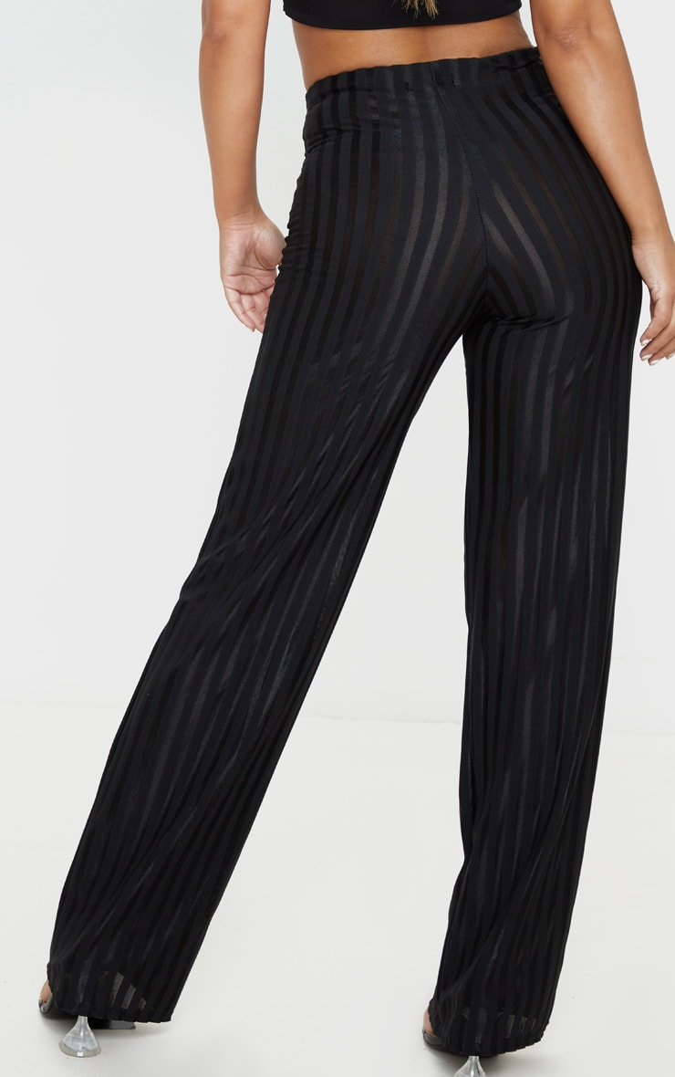 Petite Black Satin Stripe Wide Leg Pants 4