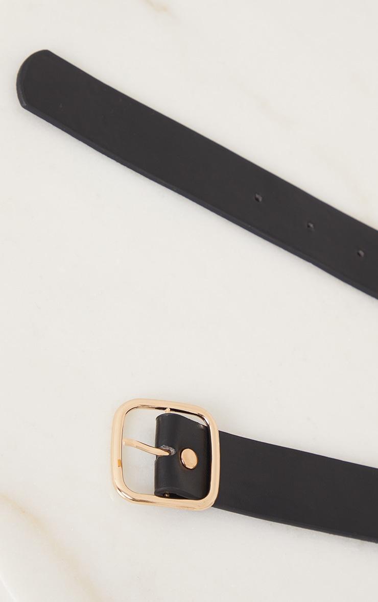 Gold Assorted Chain Detail Black Waist Belt 3