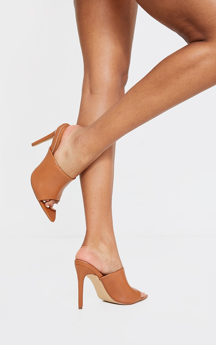 Camel Pu Pointed High Heeled Mules 1