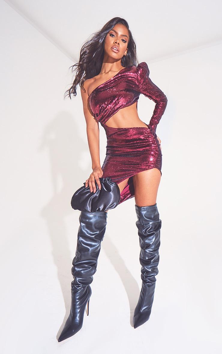 Burgundy Sequin One Shoulder Cut Out Midi Dress 3