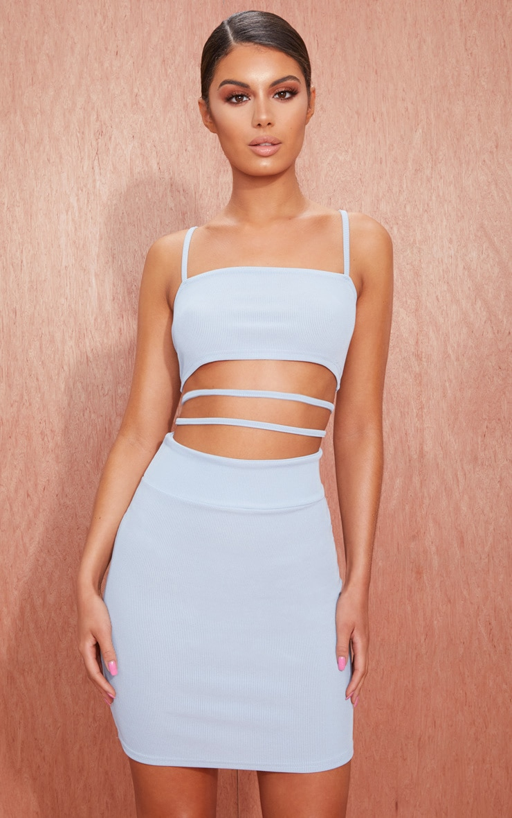 Dusty Blue Ribbed Strappy Cut Out Detail Bodycon Dress 1