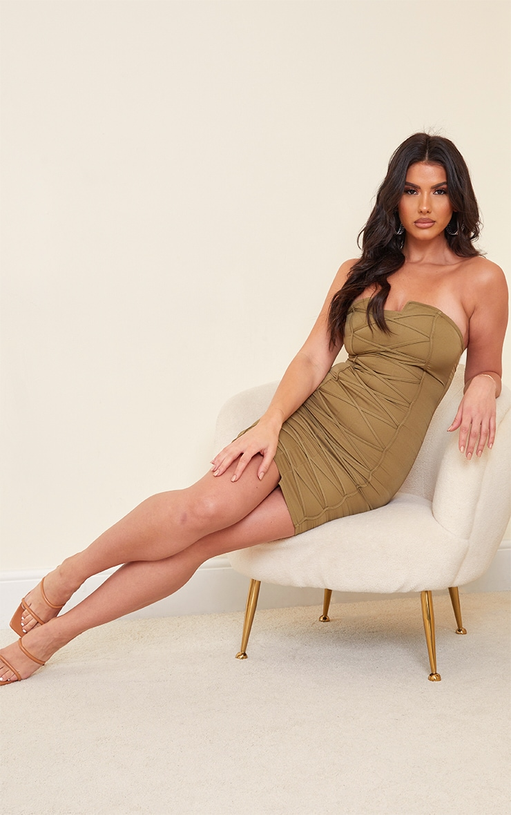Tall Olive Bandeau Woven Corset Detail Bodycon Dress  3