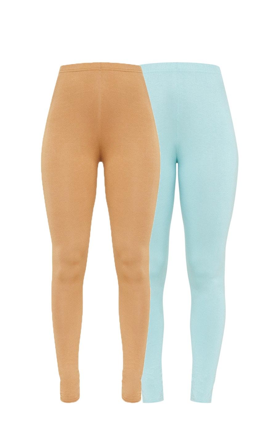 Camel and Sage Green Basic Jersey Leggings 2 Pack 3