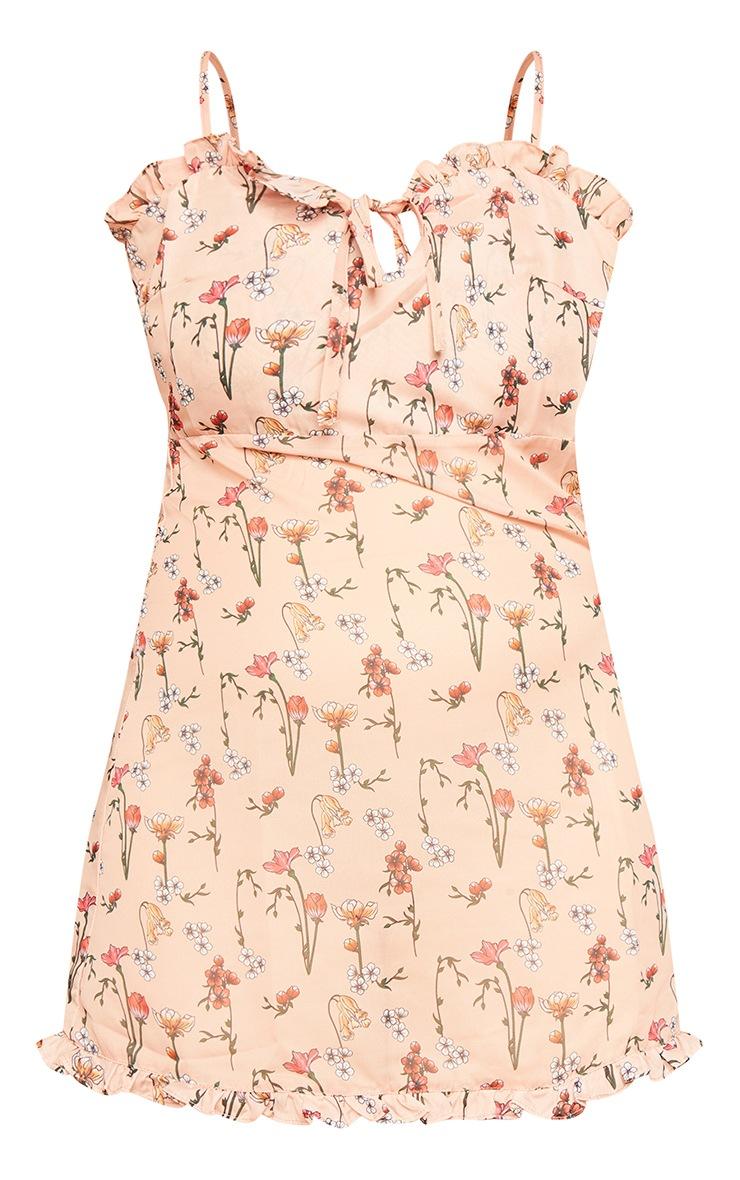 Peach Garden Print Chiffon Mini Beach Dress 3