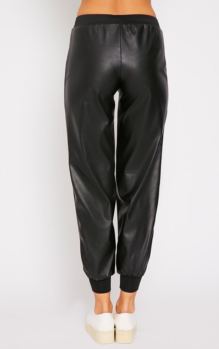 Carmen Black Faux Leather Jogger 2
