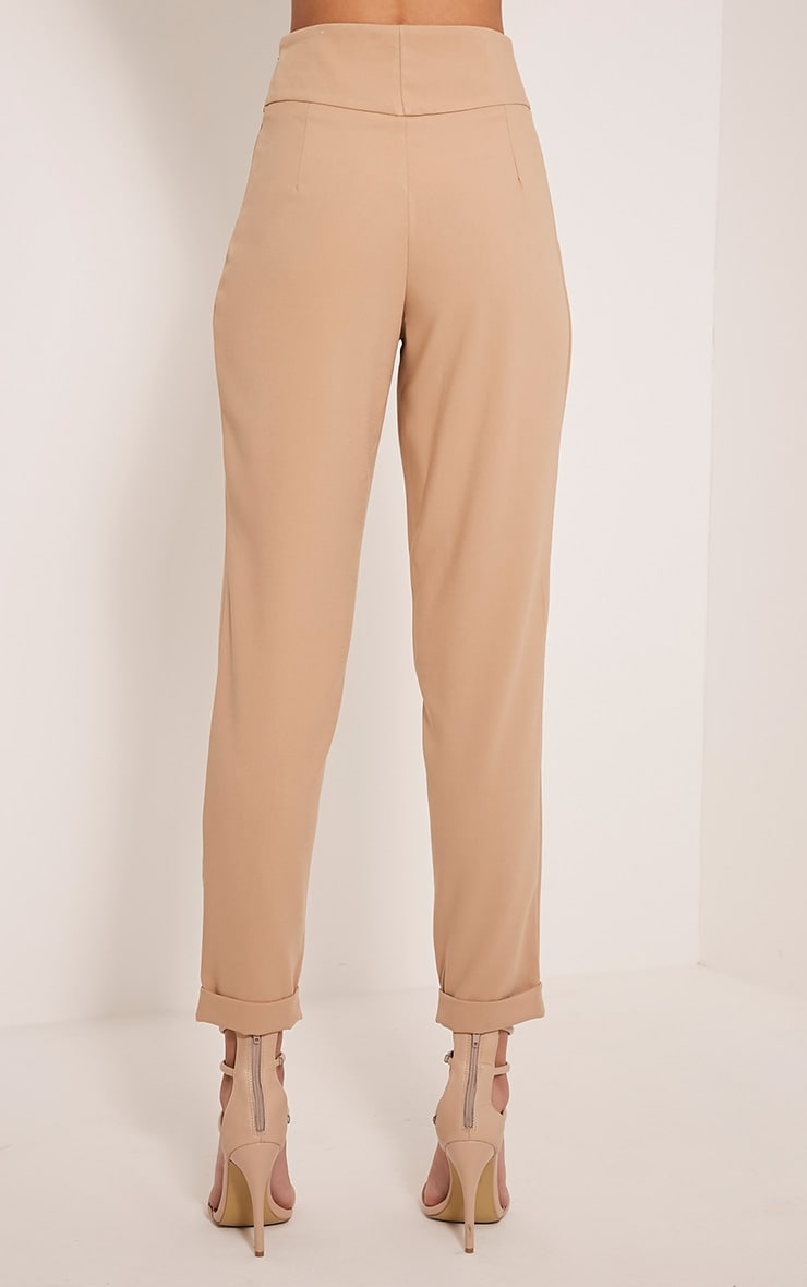 Elenor Camel High Waisted Tapered Trousers 5