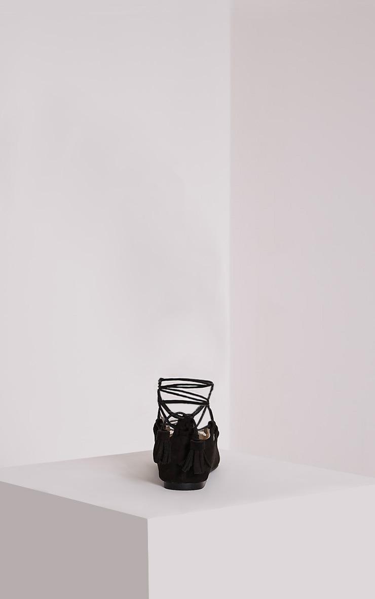 Fraya Black Tassel Tie Flats 5