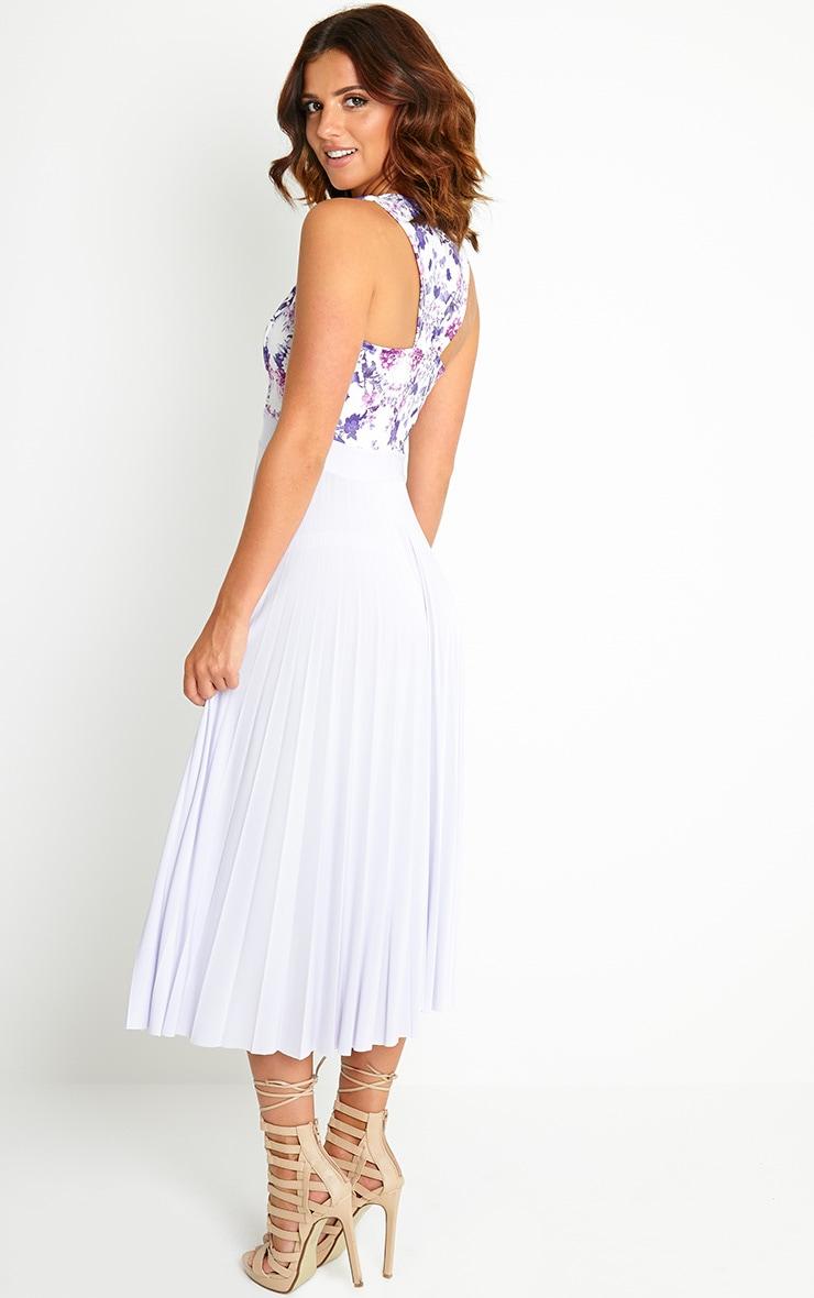 Rebekah Lilac Floral Pleated Midi Dress 4