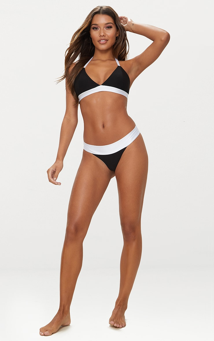 Black and White Mini Tie Side Bikini Bottom 4