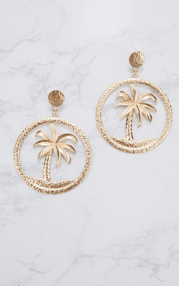 Gold Palm Tree Hoop Earrings 3