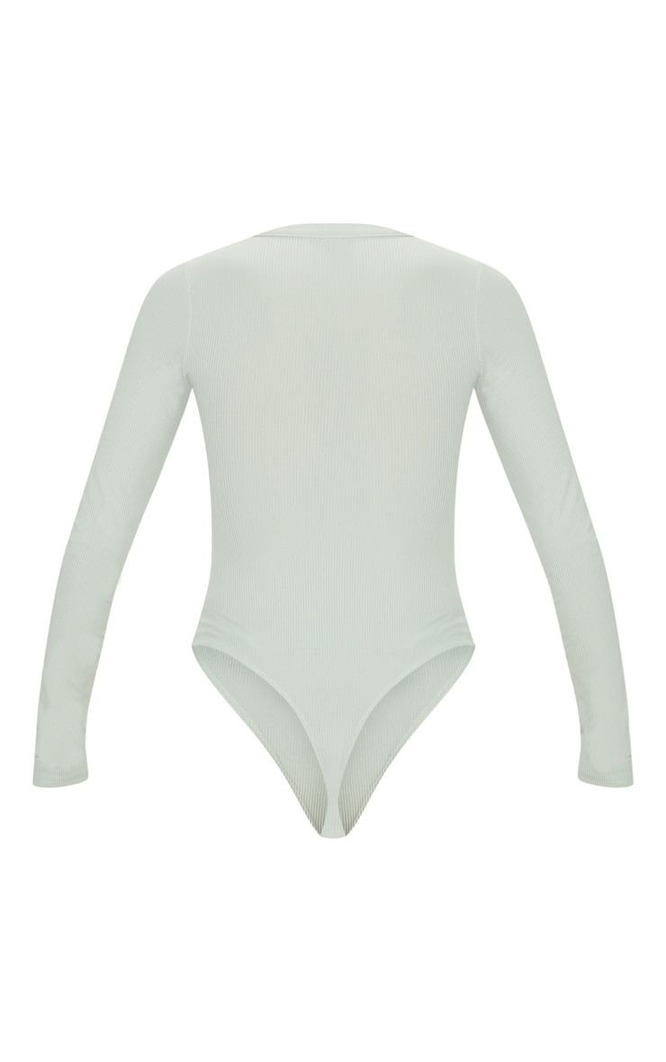 Sage Long Sleeve Button Detail Bodysuit 3