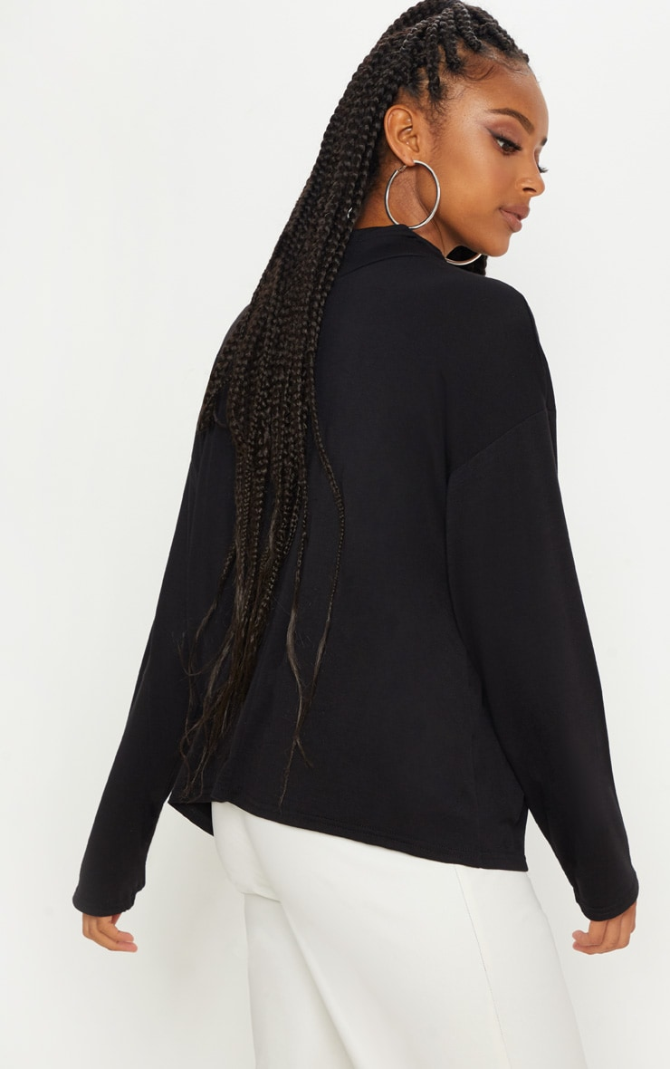 Black Jersey High Neck Oversized Top 2