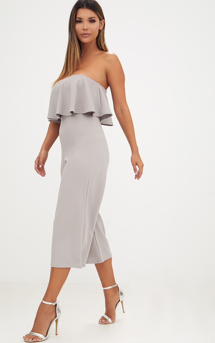 Grey Bardot Double Layer Culotte Jumpsuit 1