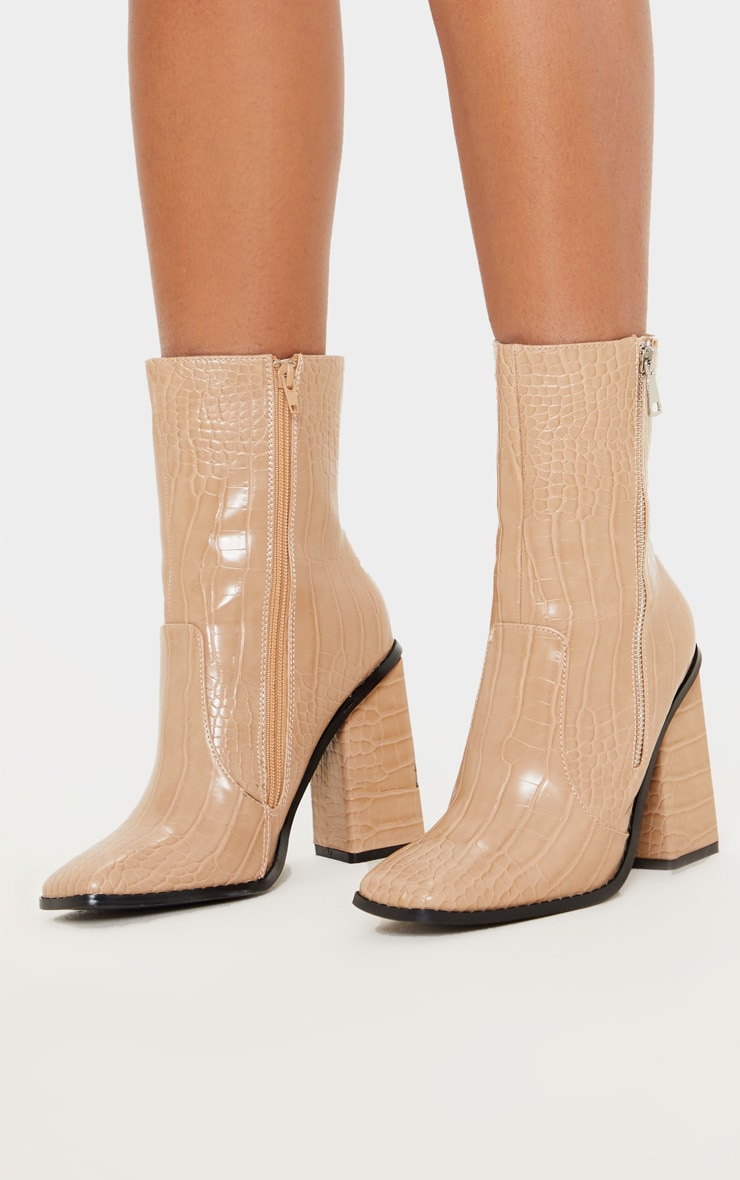 Nude Square Toe Chunky Block Heel Ankle Boot 2