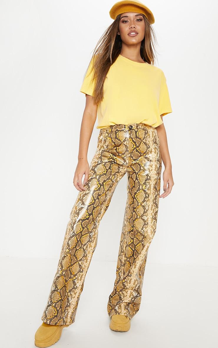 Yellow Faux Leather Snake Print Wide Leg Pants  1