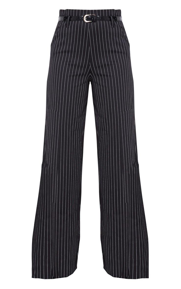 Black Pinstripe Wide Leg Belted Pants 3