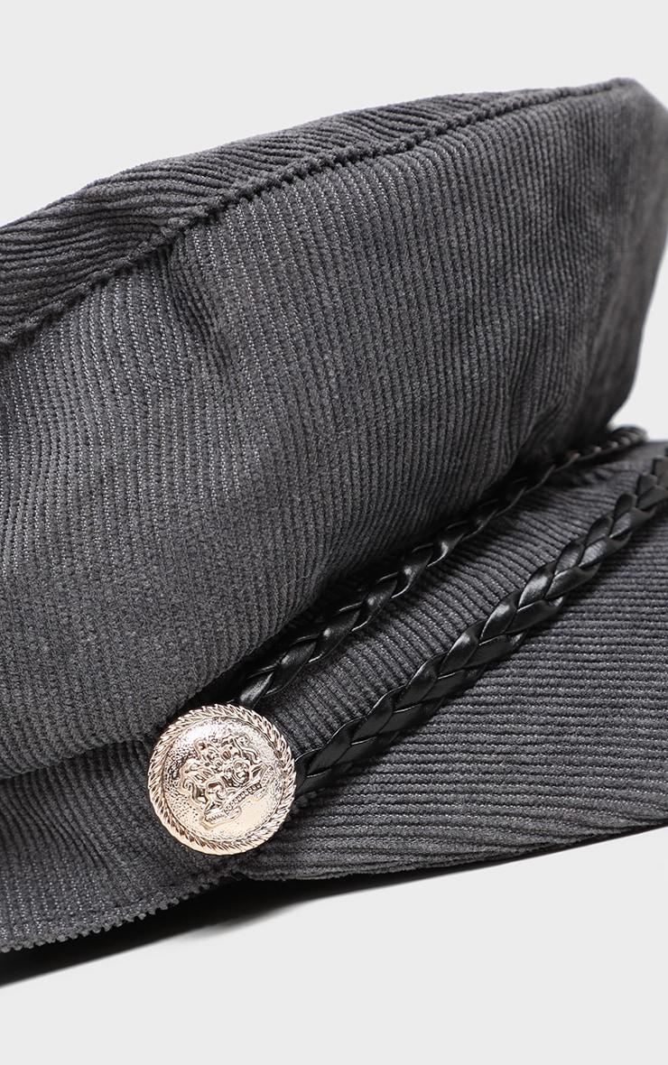 Casquette gavroche en velours côtelé gris à tresse en cuir 4