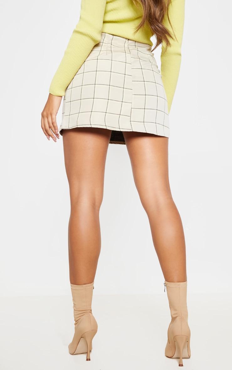 Stone Woven Check A Line Skirt  4