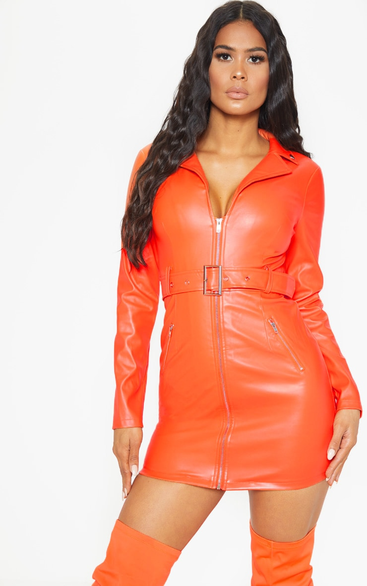 Orange Faux Leather Biker Buckle Bodycon Dress 4