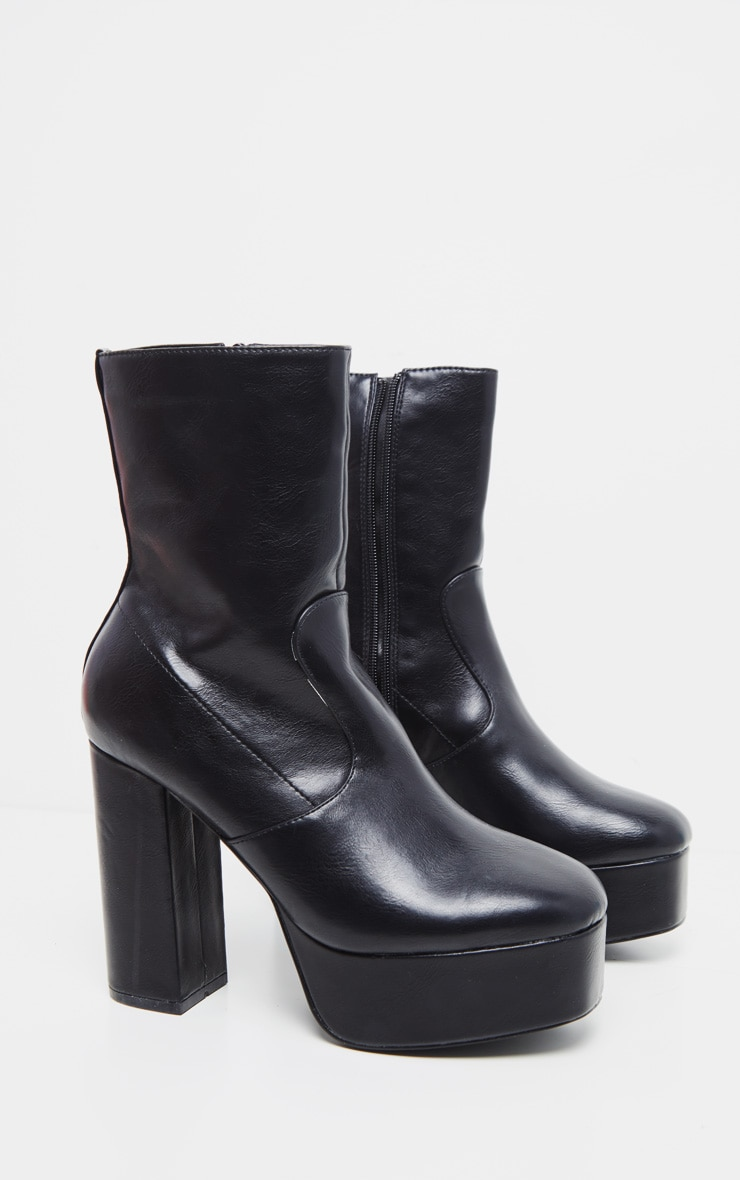 Black High Platform Ankle Boots 3
