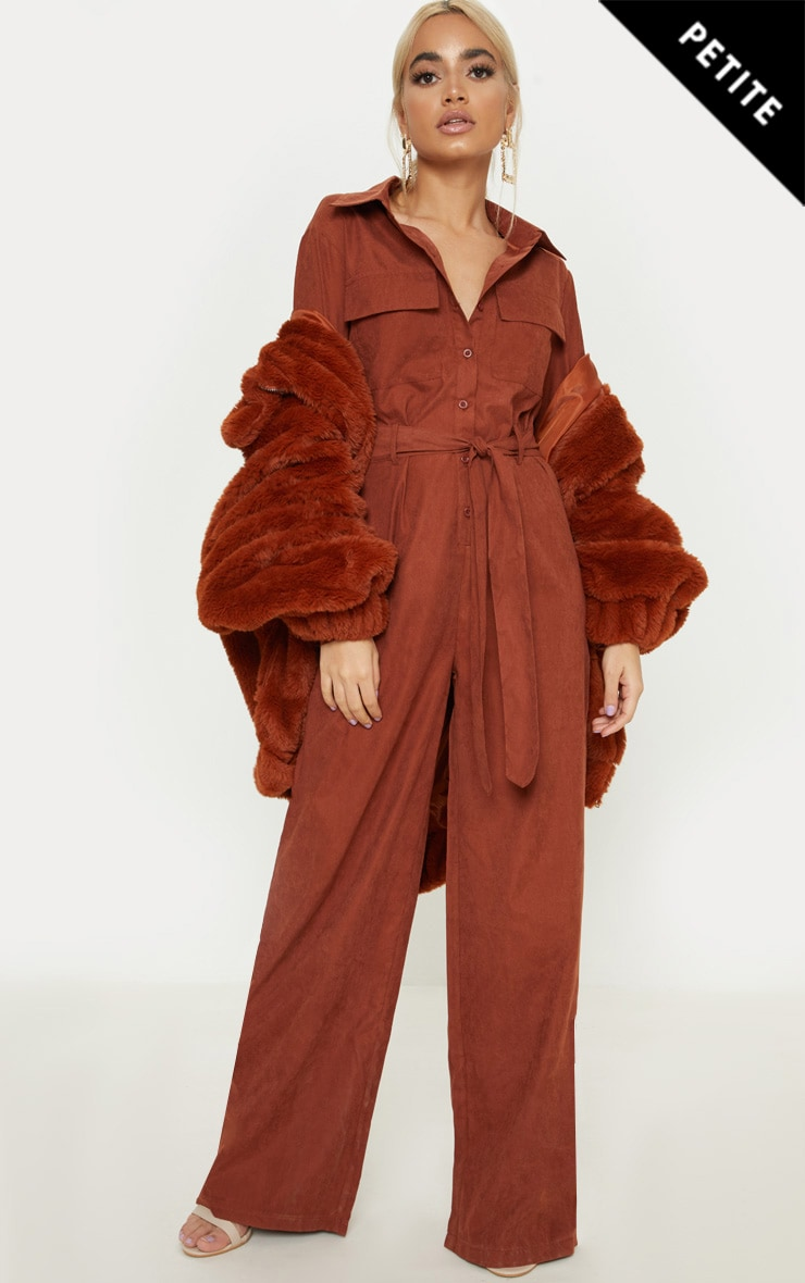 Petite Chocolate Brown Faux Suede Button Up Jumpsuit