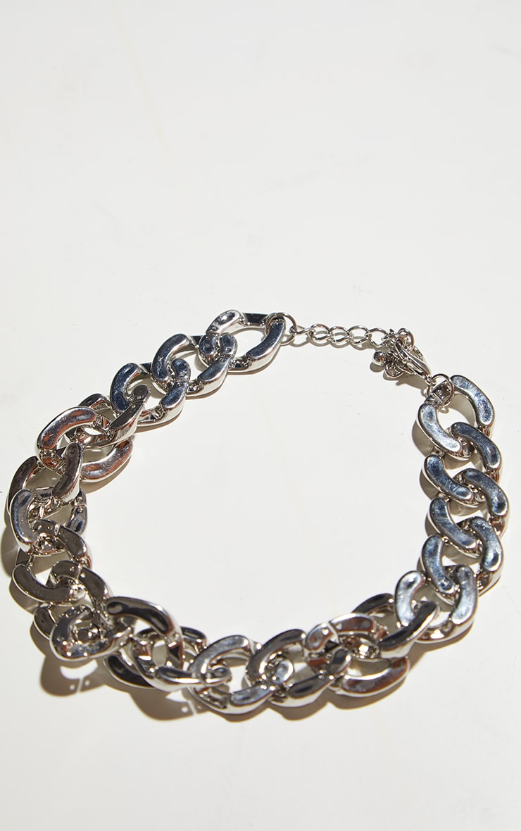 Silver Flat Chunky Curb Chain Necklace 4