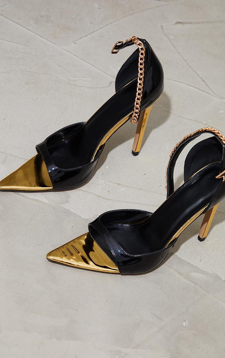 Black PU Pointed Chain Detail High Heels 3