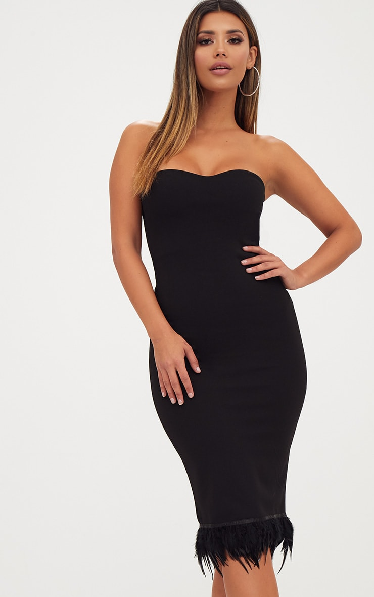 Black Bandeau Feather Hem Midi Dress 1