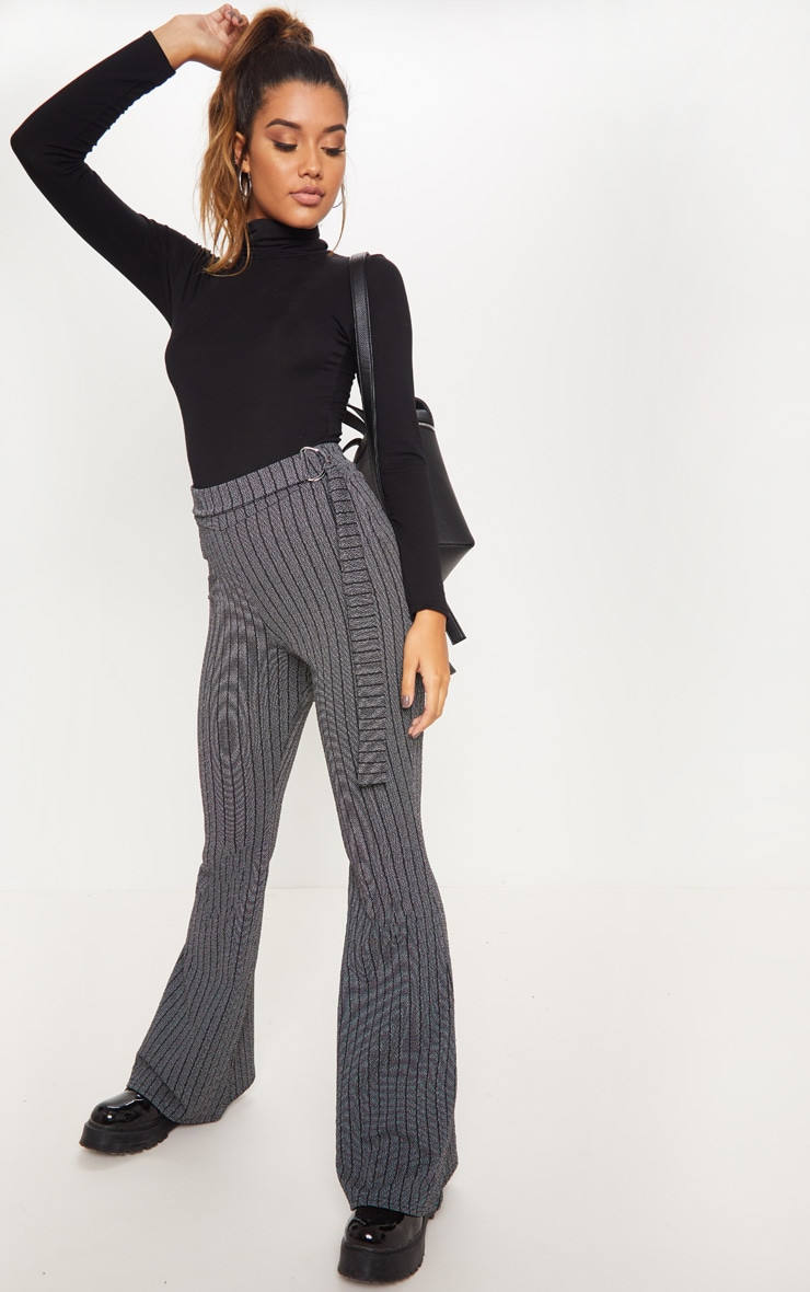 Grey D Ring Textured Stripe Wide Leg Pants 1