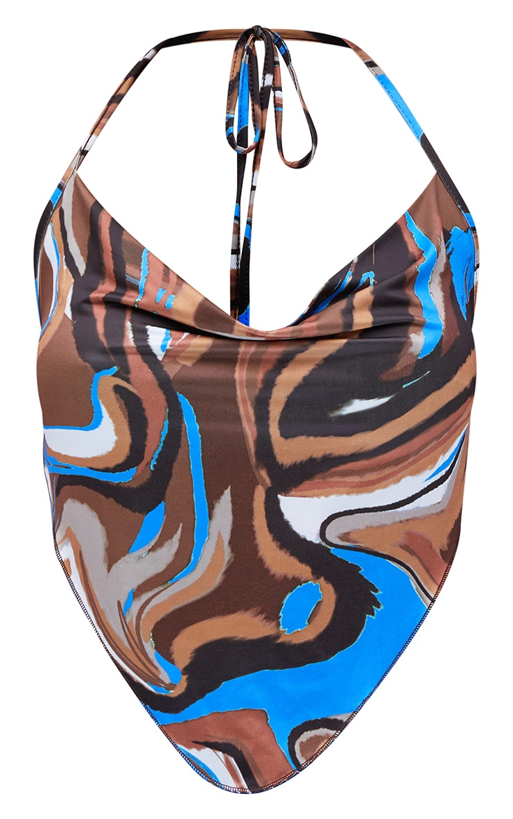 Blue Abstract Print Cowl Cami Top 5