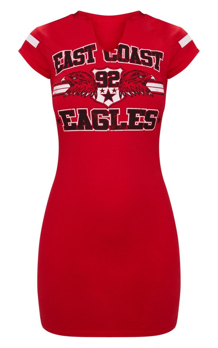 Red East Coast Eagles Bodycon T Shirt Dress 3