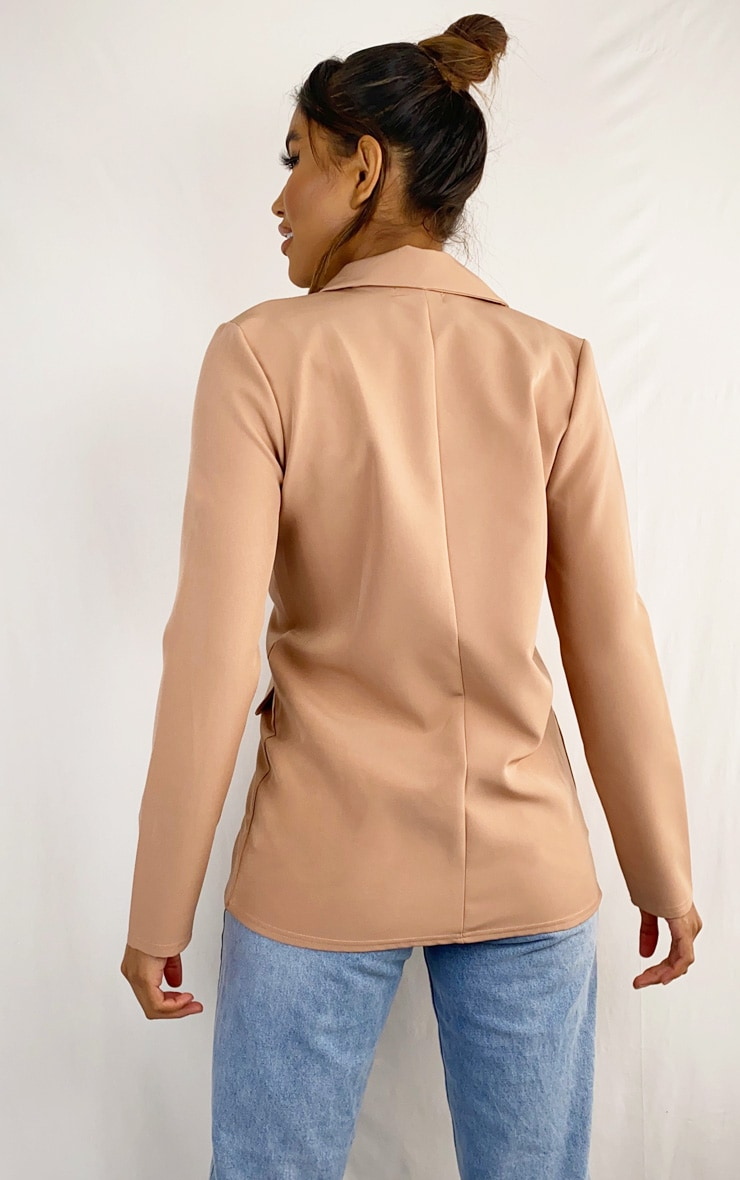 Camel Button Front Pocket Detail Blazer 2