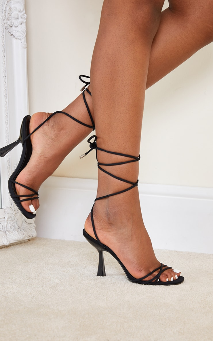 Black Lycra Cross Over Lace Up Cake Stand Mid Heels 1
