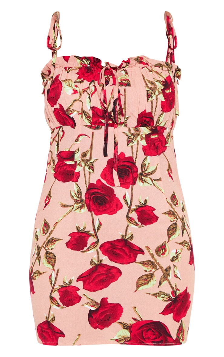 Dusty Pink Rose Printed Ruched Bodice Bodycon Dress 3