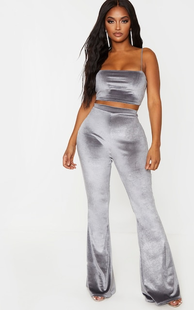Shape Grey Velvet Flared Trouser