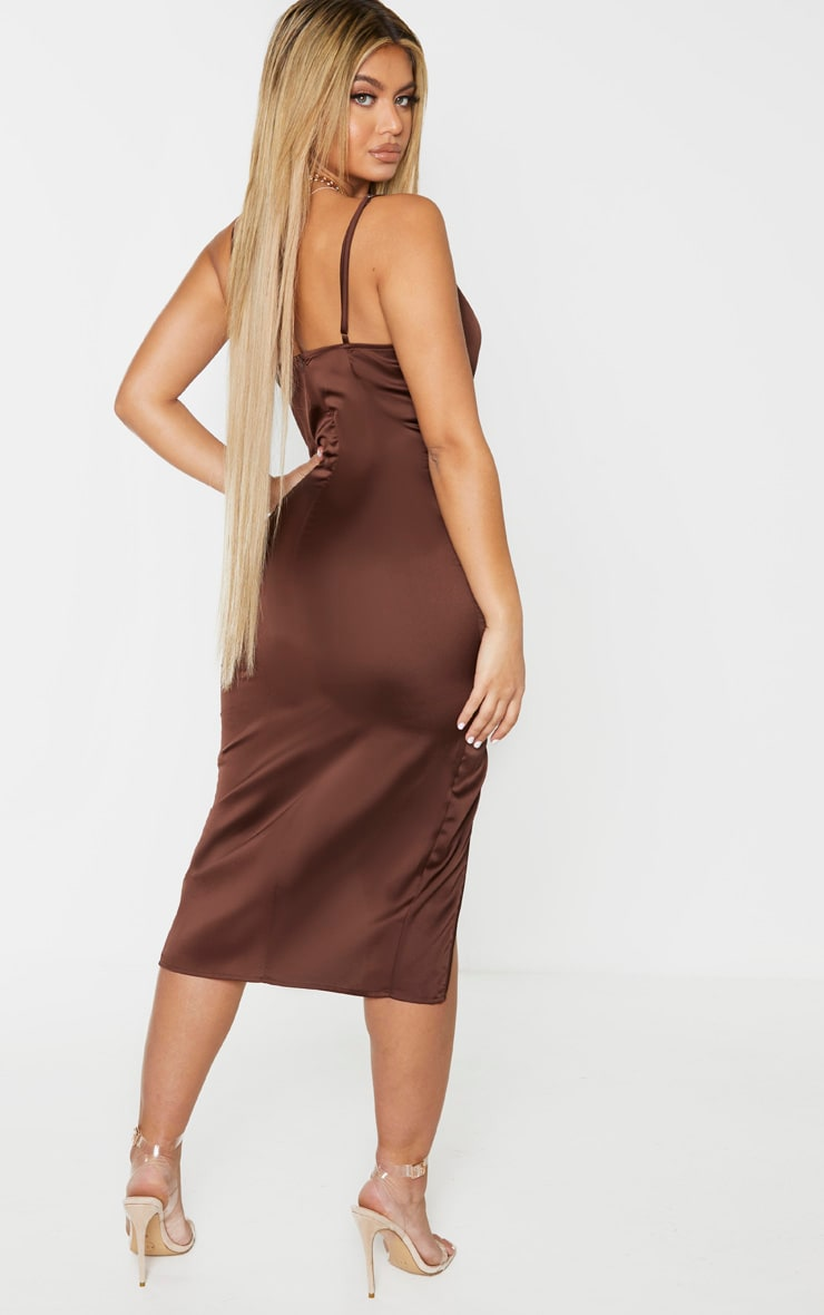 Chocolate Brown Strappy Satin Cowl Midi Dress 2