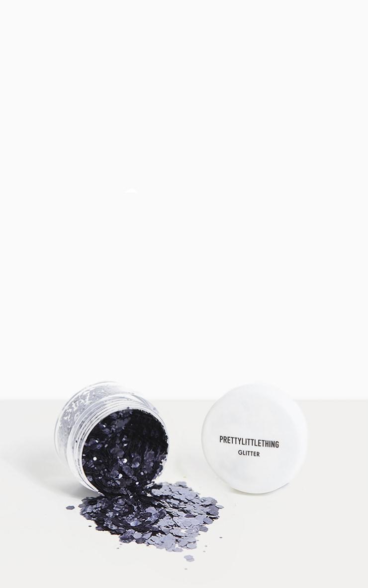 PRETTYLITTLETHING Chunky Black Glitter Pot