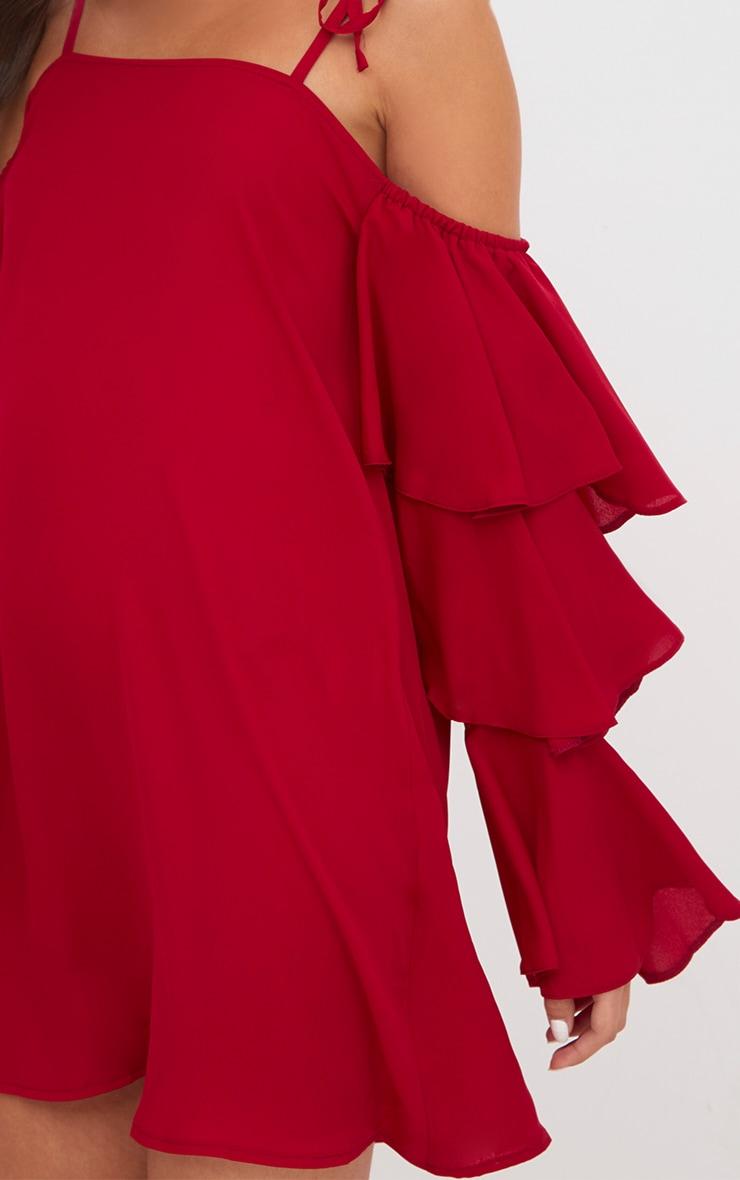 Red Triple Sleeve Shift Dress  5