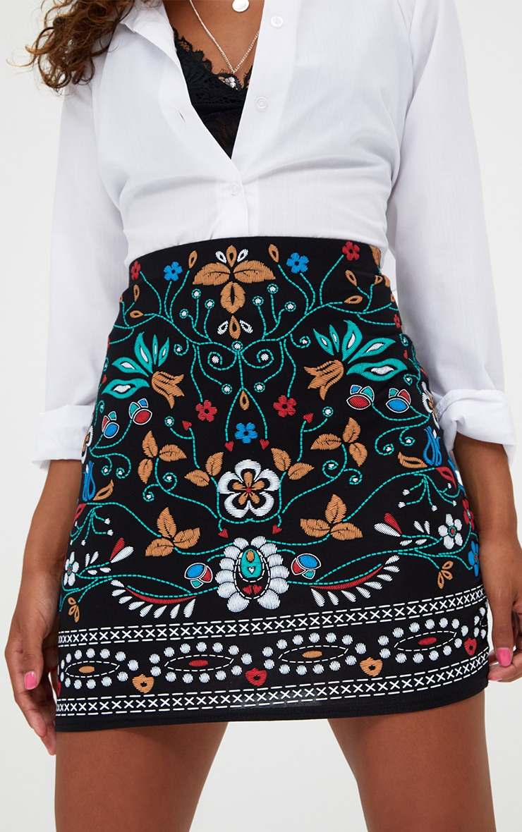 Petite Black Embroidered Print Mini Skirt 5