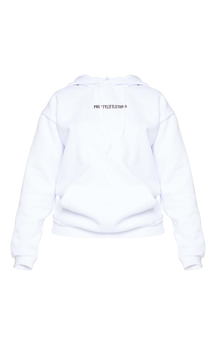 PRETTYLITTLETHING White Embroidered Slogan Hoodie 6
