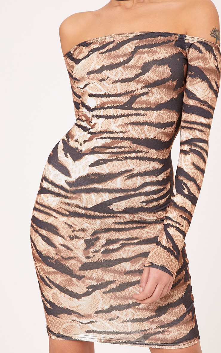 Tiger Print Brown Bardot Long Sleeve Bodycon Dress 5