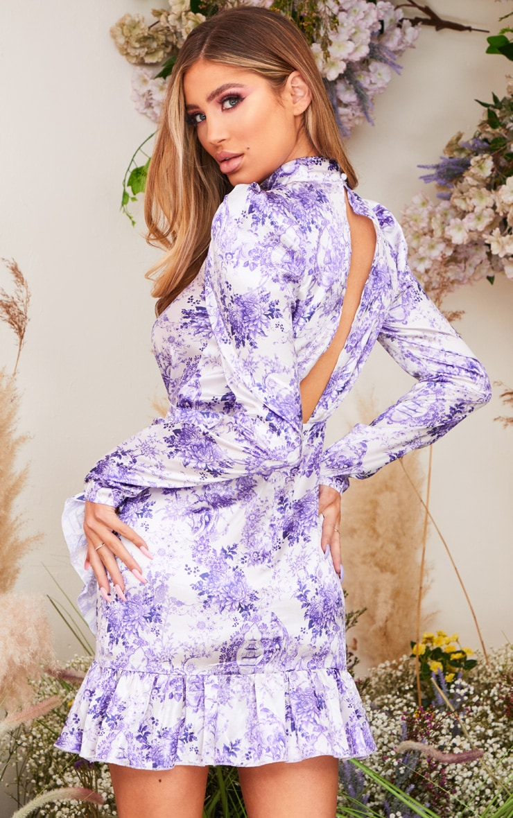 Lilac Porcelain Print High Neck Frill Detail Bodycon Dress 2