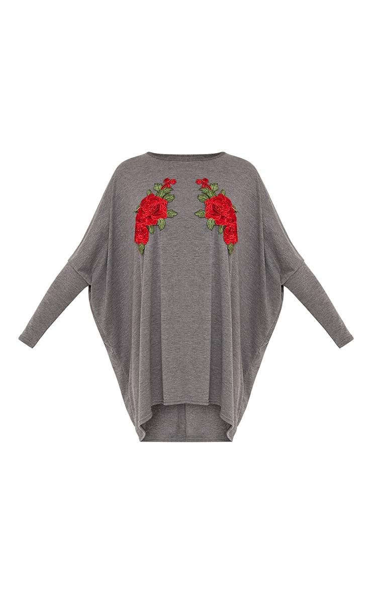 Mandy Grey Floral Embroidery Top & Leggings Set 3