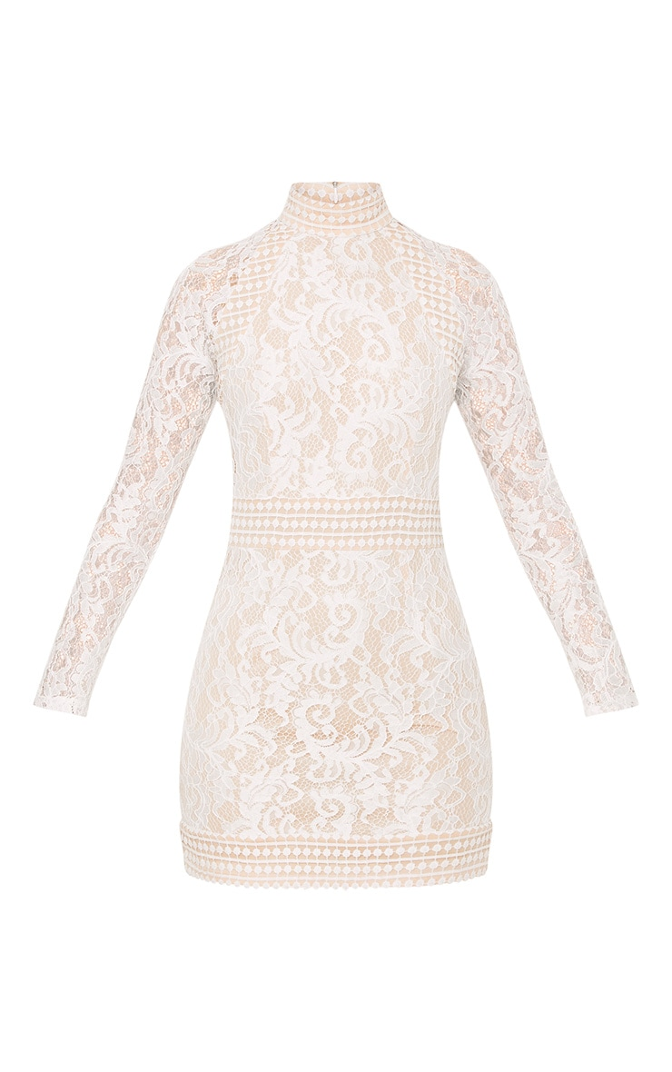 Isobel White Lace High Neck Bodycon Dress 3